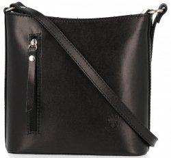 Klasyczna Torebka Listonoszka Skórzana Genuine Leather Pelle Czarna