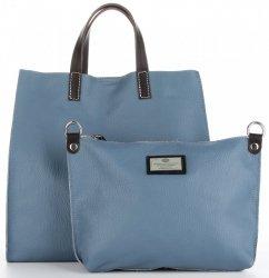 52c9ac325f38b Praktyczne Torebki Skórzane 2 w 1 Shopper z Listonoszką firmy Genuine  Leather Niebieska