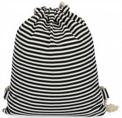 Plecaczki Damskie Praktyczny Worek wzór w paski  Czarno Biały