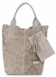 VITTORIA GOTTI Made in Italy Torebka Skórzana Shopperbag w Tłoczone Wzory Beżowa