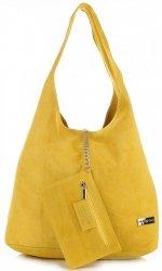 Oryginalne Torby Skórzane XL VITTORIA GOTTI Shopper Bag z Etui Żółta