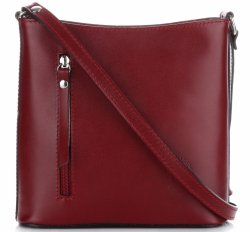 Klasyczna Torebka Listonoszka Skórzana Genuine Leather Pelle Bordowa
