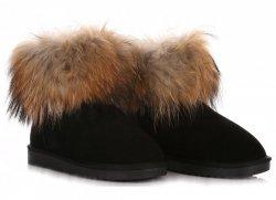 Dámske topánky z talianskej kože zimné topánky mýval pes / králik Čierna
