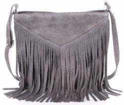 Kožená taška na messenger so strapcami z prírodného semišu šedej