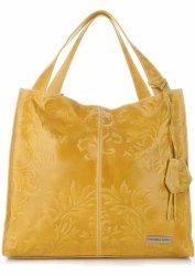 VITTORIA GOTTI vyrobená v Taliansku Veľká XXL Kožená taška v reliéfnych vzoroch žltá