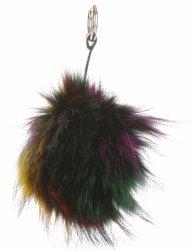 Kľúčenka na tašky veľký pompom z prírodných vlasov mýval pes viacfarebný