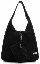 Originálna koža XL VITTORIA Gotti Shopper taška cez rameno s taškou cez rameno Čierna