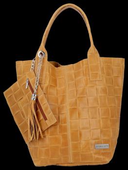 Módní Kožené Dámské Kabelky Shopper Bag XL Vittoria Gotti Světle Zrzavá