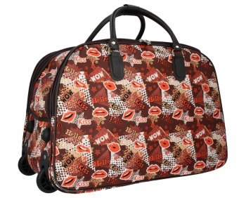 Cestovní taška na kolečkách s výsuvnou rukojetí Or&Mi Kiss Multicolor Bordová