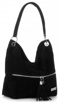Vittoria Gotti Univerzální kožená italská kabelka černá