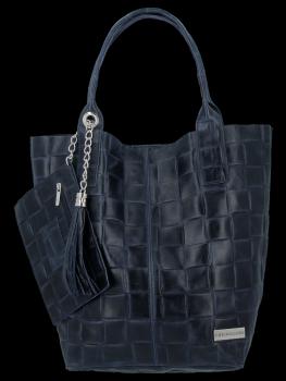Módní Kožené Dámské Kabelky Shopper Bag XL Vittoria Gotti Tmavě Modrá