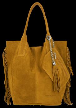 Módní Italské Kožené Kabelky Shopper Bag Boho Style Vittoria Gotti Světle Zrzavá