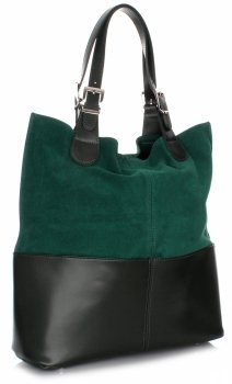 Kožená kabelka exkluzivní Shopper bag zelená