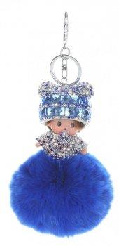 Přívěšek ke kabelce Mimino s pomponem z přírodního králíka modrý