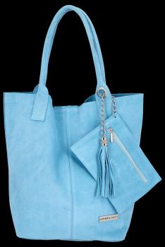 Kožené kabelky Vittoria Gotti Shopper bag Světle modrá