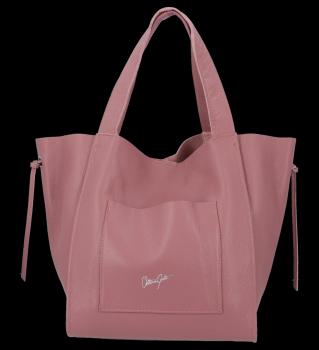 Vittoria Gotti Italské Kožené Dámské Kabelky Shopper Bag Špinavě Růžová