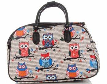 Průměrná cestovní taška kufřík Or&Mi vzor v sovy Multicolor - Béžová