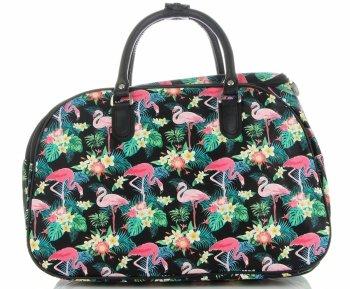 Průměrná cestovní taška kufřík Or&Mi Plameňáci Multicolor - černá