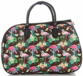 Velká cestovní taška kufřík Or&Mi Plameňáci Multicolor - Hnědá