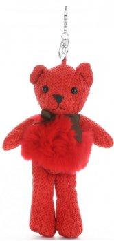 Přívěšek ke kabelce Plyšový medvídek s přírodním králíkem červená