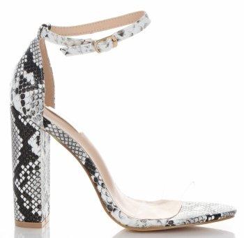 Modní Dámské Sandály na podpatku Bellucci Bílá a černá