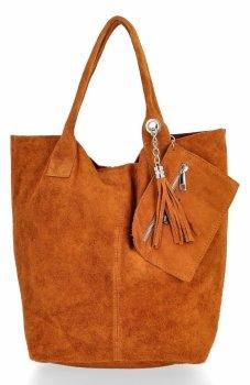 Kožené kabelky Shopperbag přírodní semiš Tmavě zrzavá