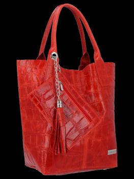 Univerzální Kožené Kabelky Shopper Bag XL se zvířecím motivem Vittoria Gotti Červená