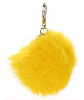 Přívěšek ke kabelce Pompon z přírodního vlasu žlutý