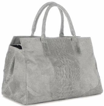 Kožená kabelka kufřík Aligátor Světle šedá