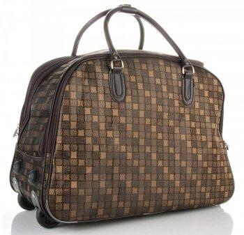 Cestovní taška na kolečkách s výsuvnou rukojetí Or&Mi Šachovnice Čokoládová