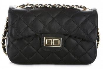 kožená kabelka listonoška Genuine Leather černá