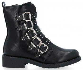 Černé módní kotníkové boty s přezkami Mia