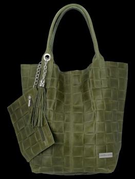 Módní Kožené Dámské Kabelky Shopper Bag XL Vittoria Gotti Khaki