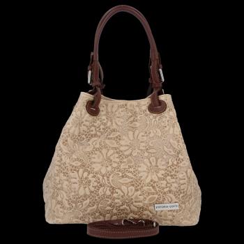 Univerzální kožená italská kabelka v květinovém vzoru Vittoria Gotti Béžová
