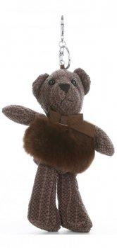 Přívěšek ke kabelce Plyšový medvídek s přírodním králíkem čokoláda