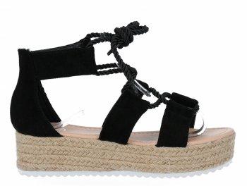 Černé sandály espadrilky na platformě Givana