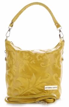VITTORIA GOTTI Made in Italy Kožená kabelka listonoška Žlutá