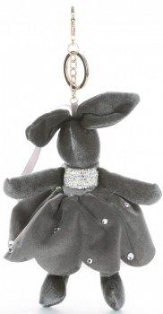 Přívěšek ke kabelce Sametový králík v sukýnce šedý