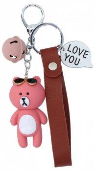 Přívěšek ke kabelce Medvídek I Love You Růžový