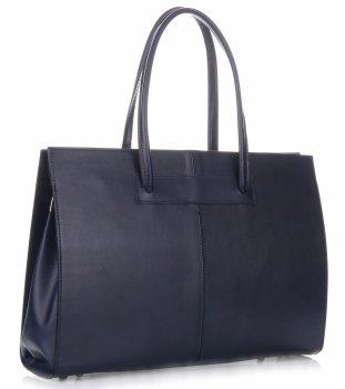Kožená kabelka aktovka A4 Genuine Leather Tmavě Modrá