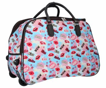 Cestovní taška na kolečkách s výsuvnou rukojetí Or&Mi Kiss Multicolor Světle modrá
