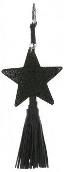 Dvoustranný Přívěšek ke kabelce Stars se zirkony a silným střapcem černá