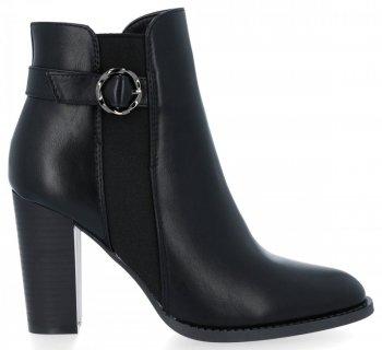 Černé klasické kotníkové boty na podpatku Lousie