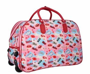 Cestovní taška na kolečkách s výsuvnou rukojetí Or&Mi Kiss Multicolor Růžová