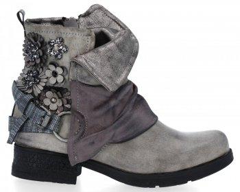 Šedé stylové kotníkové boty Flora