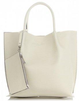 Elegantní Kožená Italská Kabelka Vittoria Gotti Made in Italy Shopperbag XL s kosmetickou Béžová