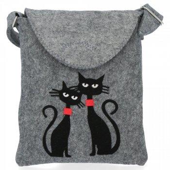 Stylová Dámská Kabelka Plstěná Listonoška Bruno Rossi Cats Světle šedá