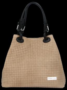 Univerzální kožená italská kabelka Vittoria Gotti Tmavě béžová