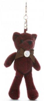 Přívěšek ke kabelce Elegantní medvídek s mašličkou vínový