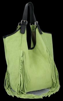 Módní Italské Kožené Dámské Kabelky Shopper Bag Boho Style Světle Zelená